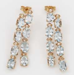 Pair of decorative aquamarine drop earrings
