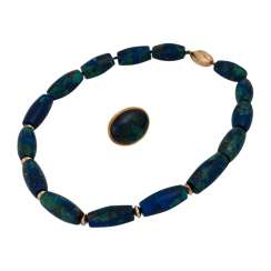Set brooch and necklace made of azurite,