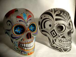 Glass skull, based on the Mexican holiday, Day of the Dead