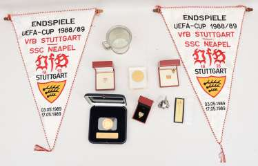 VFB STUTTGART - COLLECTOR's BUNDLE: pennant, coins/medals/badges and merchandise,part of, silver, 1980s-2000s