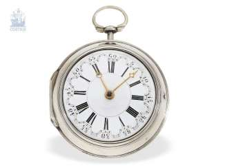 Pocket watch: English double case-Spindeluhr with very rare factory, Jaques Champury London No. 588, London 1754