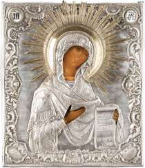 ICON OF THE MOTHER OF GOD FROM A DEESIS WITH SILVER OKLAD