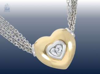 Necklace/Collier: very decorative and high quality 4-row gold necklace wrought with exceptional diamond heart pendant, approx 0.4 ct