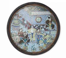 Round plate with scene from the Opera San Cha Kou'