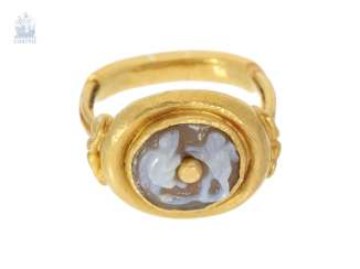 Ring: very rare, heavy antique ring with a stone cameo, probably 18th century
