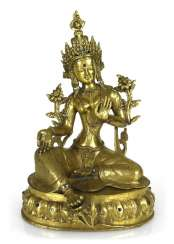 Bronze sculpture of the green Tara