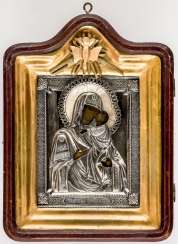 Icon of the mother of God Tolgskaja with Silberoklad in the icon case and the rear side blessing inscription of Archbishop Ionafan of Yaroslavl and Rostov from the 1890