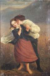 Genre scene: love couple in field, 19th century