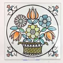 Window image / Zierbild: glass-equipped colored with a large flower basket, 20. Century, very good.