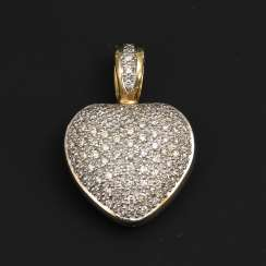 Clip heart pendant with diamonds