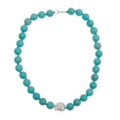 Turquoise ball chain necklace with Baroque pearl and Sterling silver