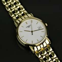 Mr bracelet watch, Tissot of Switzerland, in Yellow-Gold 750 / 18 carats, mint condition, probably never worn.