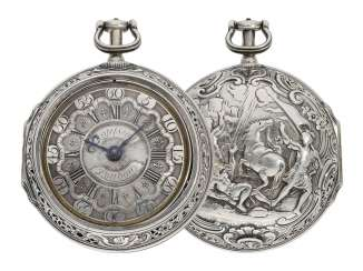 Pocket watch: fine, large double housing-spindle pocket watch with rare eighth repetition and repair, replace outer case, Ja(me)s Rousseau, No. 5155, London, CA. 1740-1750