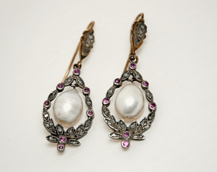 Earrings with diamonds rubies and pearls