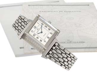 Wrist watch: this watch is in stainless steel, Jaeger Le Coultre Reverso Ref. 250.8.86, with papers from 2000
