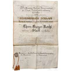 Privy councillor Friedrich Theodor Schaaff - certificate of Honorary citizenship of the city of Rastatt, 1844