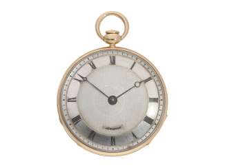 Pocket watch: very fine, almost mint-condition open face with stone cylinder, temperature compensation and repeater, signed Breguet No. 577, Paris around 1830