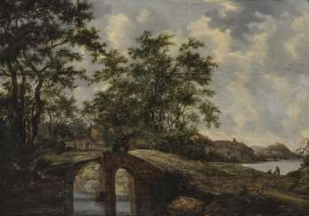 Goyen, Jan Josephsz. Van, Area. Landscape with bridge and figure staffage