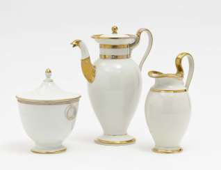 Coffee pot, milk jug and sugar bowl, Nymphenburg, 1st half of the 19th century