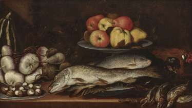 Kitchen still life with fish, snails, and fruits