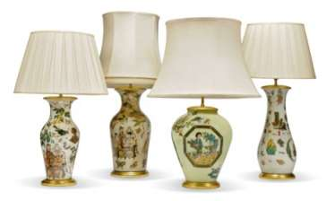 FOUR DECALCOMANIA LAMPS