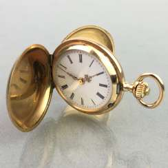 Ladies Savonette / spring lid pocket watch, three lids Gold 585, fine engraved, cylinder escapement, Switzerland around 1900, very good