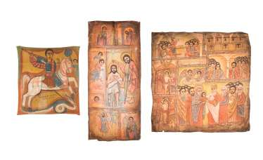 THREE LARGE-SIZED COPTIC TEXTILE FRAGMENTS WITH THE BAPTISM OF CHRIST, THE PRESENTATION IN THE TEMPLE, AND THE HOLY