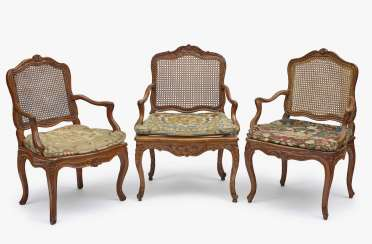 Three German armchairs, 18th century