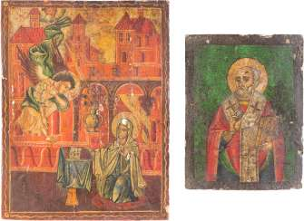 TWO ICONS: SAINT NICHOLAS OF MYRA AND THE ANNUNCIATION OF THE MOTHER OF GOD