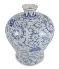 Porcelain vase with blue-white tendrils decor, Meiping