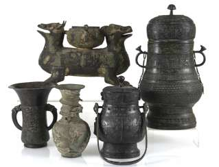 Group of five bronzes in the archaic style