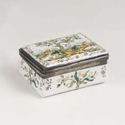 Small Berlin enamel tobacco box with landscape decoration