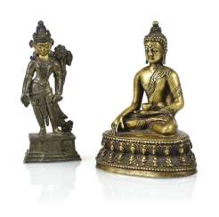 Two bronze figures of Buddha Shakyamuni and Tara