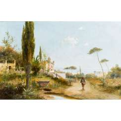"FISCHHOF, GEORG (1859-1914) ""Panorama of an Italian Coastal Landscape"""