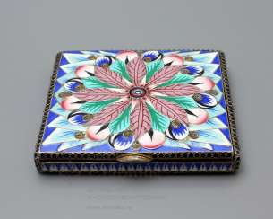 Soviet jewelry box with enamel, silver 916 samples, enamel, fine arts, 1930