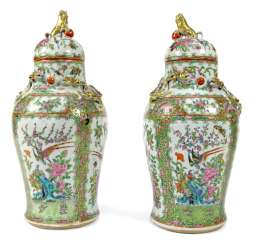Pair of cover vases made of porcelain with birds and flowers in cartouches, dragon and lion knob