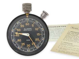 "Cockpit clock: fantastically preserved ""Heuer-Sears Allstate Auto-Rally"" 1/10 second stopwatch no. 32260 in original condition with original box, operating instructions and warranty card, around 1960"