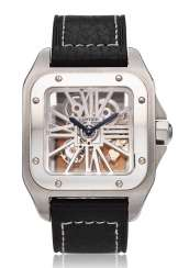 CARTIER, PALLADIUM SKELETONISED SANTOS 100