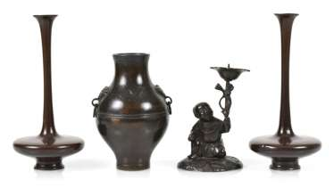 Pair of long neck vases, with a 'hu'shaped Vase and a candle holder in the boys' form of Bronze