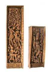 Two wooden panels with carvings of Hindu deities