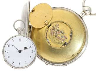 Pocket watch: very well-preserved, very fine French Percussion pocket watch with concealed erotic automaton, CA. 1820