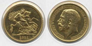 ENGLAND 5 POUNDS 1911 KM 822, Spink 3994 gold 10-017-34
