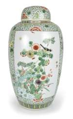 Lidded vase with floral decor in the colours of the 'Famille verte'