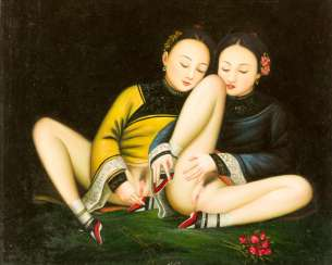 Chinese school, Erotica, two girls in traditional dresses