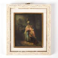 Oriental scene after Rembrandt in an ivory frame