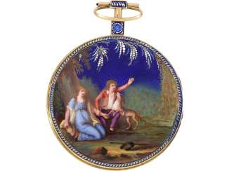 Pocket watch: very fine Gold/enamel pocket watch in the style of Gregson, signed Chevalier & Comp. Geneva, No. 4254, CA. 1800, including a watch stand/Box