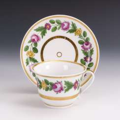 Biedermeier cup with flower painting