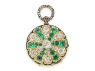 Pocket watch/Anhängeuhr: extremely precious and unique Gold/enamel watch with a very valuable precious stone trim, Rossel & Fils, Successeurs de Bautte & Cie., Geneve CA. 1850