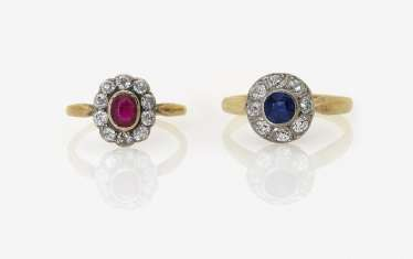 Three rings with diamonds, ruby and sapphire. Germany, around 1900