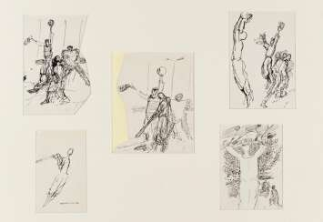 Collection of five ink drawings